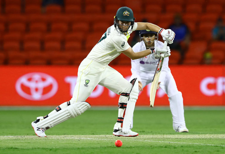 Meg Lanning of Australia bats during day three of the Women's International Test match between Australia and India