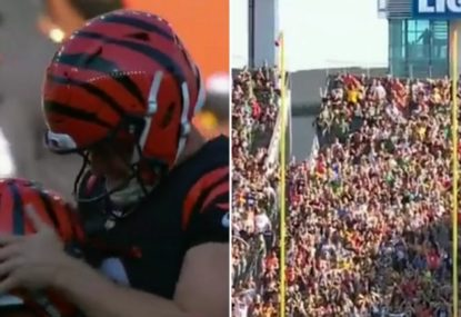 Comical moment as an NFL kicker starts celebrating a match-winning field goal that went wide