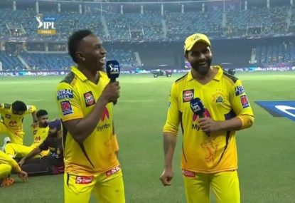 Dwayne Bravo gives everyone a laugh by upgrading his nickname after Chennai's IPL title