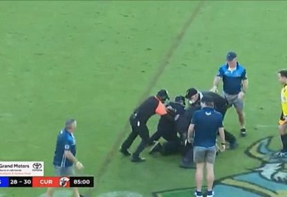WATCH: Disgraceful moment as angry fan invades pitch post-GF, allegedly punches ref