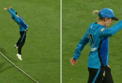 Strikers outfielder has the most casual reaction ever to taking an absolute screamer on the rope