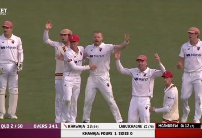 Usman Khawaja receives a gift courtesy of an absolute howler by the umpire