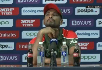 Bangladesh skipper unimpressed after Scotland's celebrations interrupt his press conference