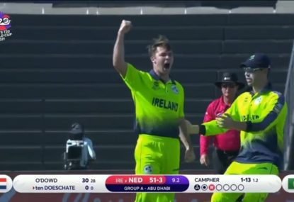 Ireland bowler surges into the record books with a stunning and rare double hat-trick