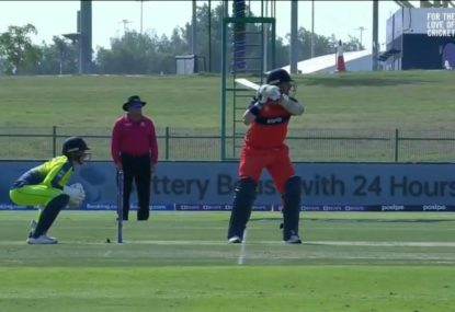 Dutch opener's unique batting stance pays off with a half-century against the Irish