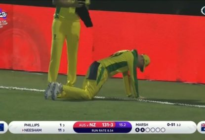 A few nervous moments for the Aussies as Steve Smith suffers 'rope burn' trying to stop a boundary