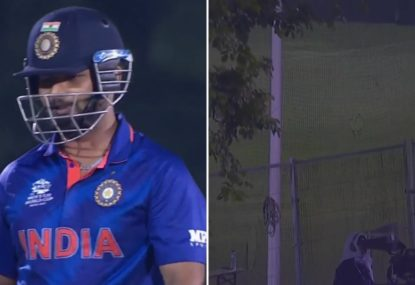 Rishabh Pant splits the protective netting as his sixes sail out of the ground