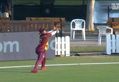 Dropped catch skied so high that even the cameraman loses it