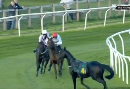 A frightening moment as a loose horse causes carnage at a race in England
