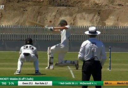 Tasmanian allrounder subbed out of Shield match after delayed concussion from a helmet blow