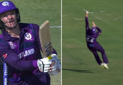 Scottish allrounder backs up an absolutely brutal six with a spectacular grab in the field