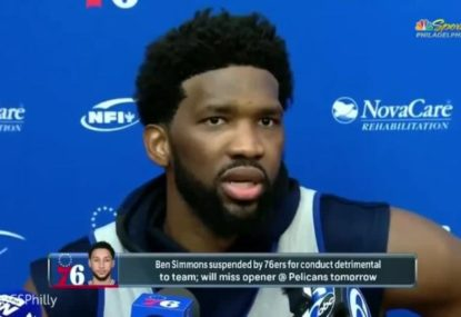 Joel Embiid's blunt message about Ben Simmons after the Aussie was suspended from 76ers