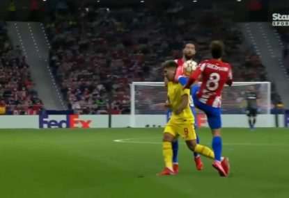 Atletico Madrid star sent off for high kick to the head of an opponent