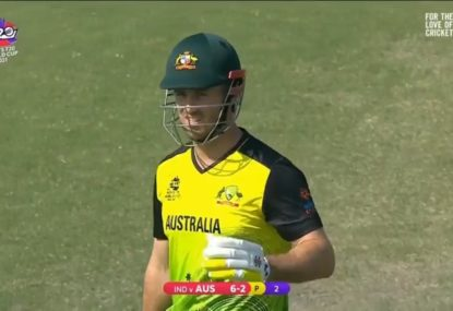 Mitch Marsh's birthday present from India is a first-ball duck in an Australian top-order collapse