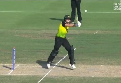 Commentators surprised by Steve Smith's 'tennis shot' style boundary