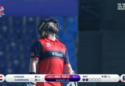 Cricket's favourite Dutch opener cannot believe he survived after skying a massive leading edge