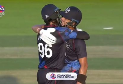 A brutal knock from David Wiese powers Namibia to first-ever World Cup victory