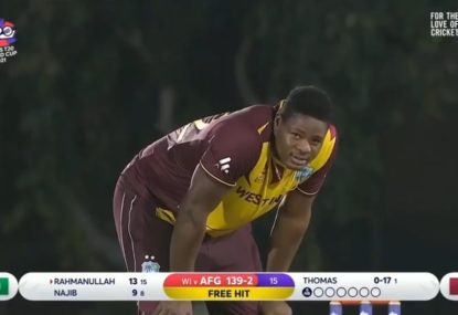 West Indian paceman literally throws away runs in an extremely sloppy start to over
