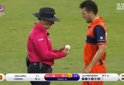 Amusing moment as Dutch bowler delivers an overhead wide then immediately blames the ball