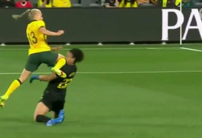 Scary scenes as Brazil's goalkeeper FLATTENED by an accidental Aussie knee