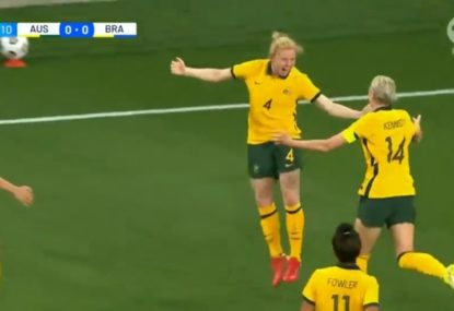 WATCH: Clare Polkinghorne finishes off a slick set piece to give the Matildas the lead