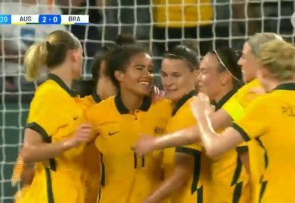 Matildas make a statement in homecoming game with a dominant win over Brazil