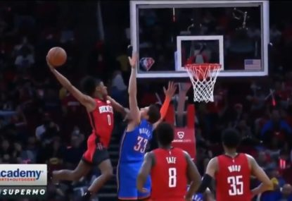 Houston rookie comes up short on massive dunk attempt in just his second NBA game