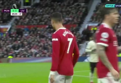 Should Cristiano Ronaldo have been sent off for this kick into a defenceless Liverpool player?