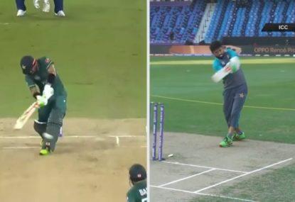 Remarkable split screen shows Pakistan opener practising every run ahead of half-century