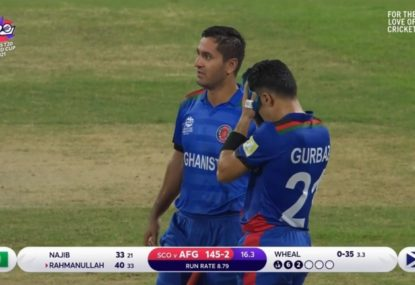 Afghanistan docked a run after a 'double review' for a run out picks up a running error