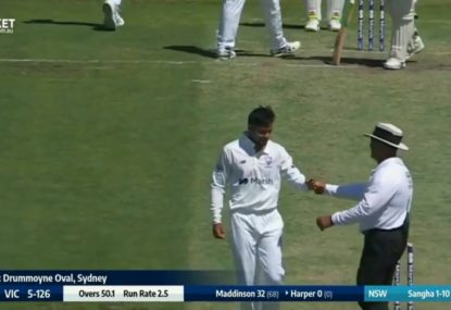 Touching moment as the umpire congratulates Tanveer Sangha on his maiden first-class wicket