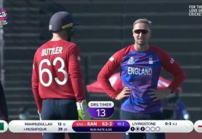 Reverse sweep chaos as DRS overturns a boundary for a wicket